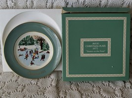 Avon Christmas Collector Plate 1975 Skaters On The Pond - $8.72
