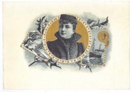 Cigar Box Label Woman in Fur Winter Scene Ship ... - $9.30