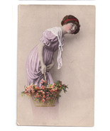 Glamour Postcard Beautiful Women Pretty Lady Tinted RP Basket Flowers 1919 - $7.59
