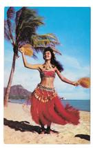 Hawaii Hula Girl Tahitian Dancer Waikiki Beach Vtg Mike Roberts Postcard - $6.36