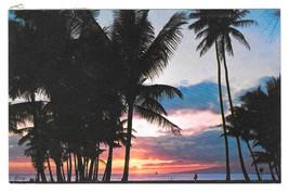 Hawaii Waikiki Sunset Palms Vintage Marino Bros Postcard Honolulu HI 1979 - $4.74