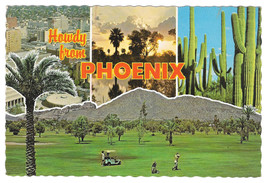 Phoenix Arizona Greetings Multiview Country Club Golf Course Cactus Post... - $4.74