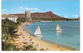 Hawaii Waikiki Beach Diamond Head Catamarans Boats Vintage Mike Roberts ... - $4.74