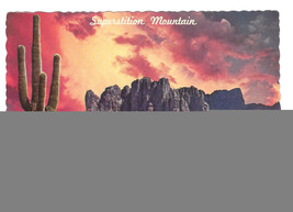 Superstition Mountain Mesa Arizona Sunrise Saquaro Cactus Vtg Postcard 4X6 - $4.74