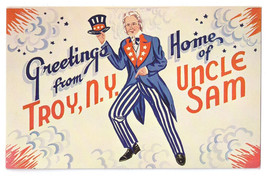 Greetings from Troy NY Home of Uncle Sam Patriotic Vintage Postcard - $7.59