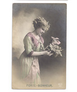 Beautiful Woman Glamour Postcard Pretty Lady Basket Flowers Tinted RP RE... - $7.59