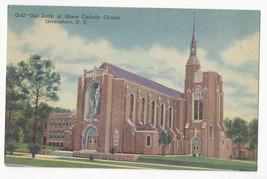 NC Greensboro Catholic Church Our Lady of  Grace Vtg 1953 Linen Postcard - $9.30