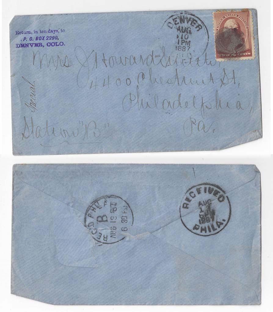 1887 Denver CO Cover to Philadelphia PA 19th Century