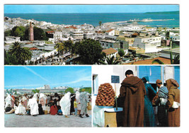 Morocco Tangier Maroc Multiview Panorama Market Vtg Postcard 4X6 Stamp - $5.69