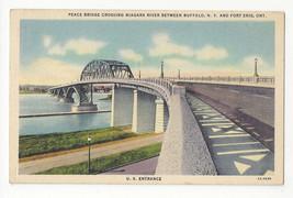 Buffalo NY Fort Erie Ontario Peace Bridge U.S. Entrance Vtg Linen Postcard 1939 - $6.36