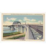 Buffalo NY Fort Erie Ontario Peace Bridge U.S. Entrance Vtg Linen Postca... - $6.36