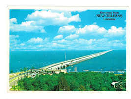 LA Lake Pontchartrain Causeway Bridge New Orleans Louisiana Vtg Postcard... - $6.36