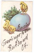 Easter Greetings from Rutland VT Applied Glitter Vtg 1909 Postcard Chicks - $6.36
