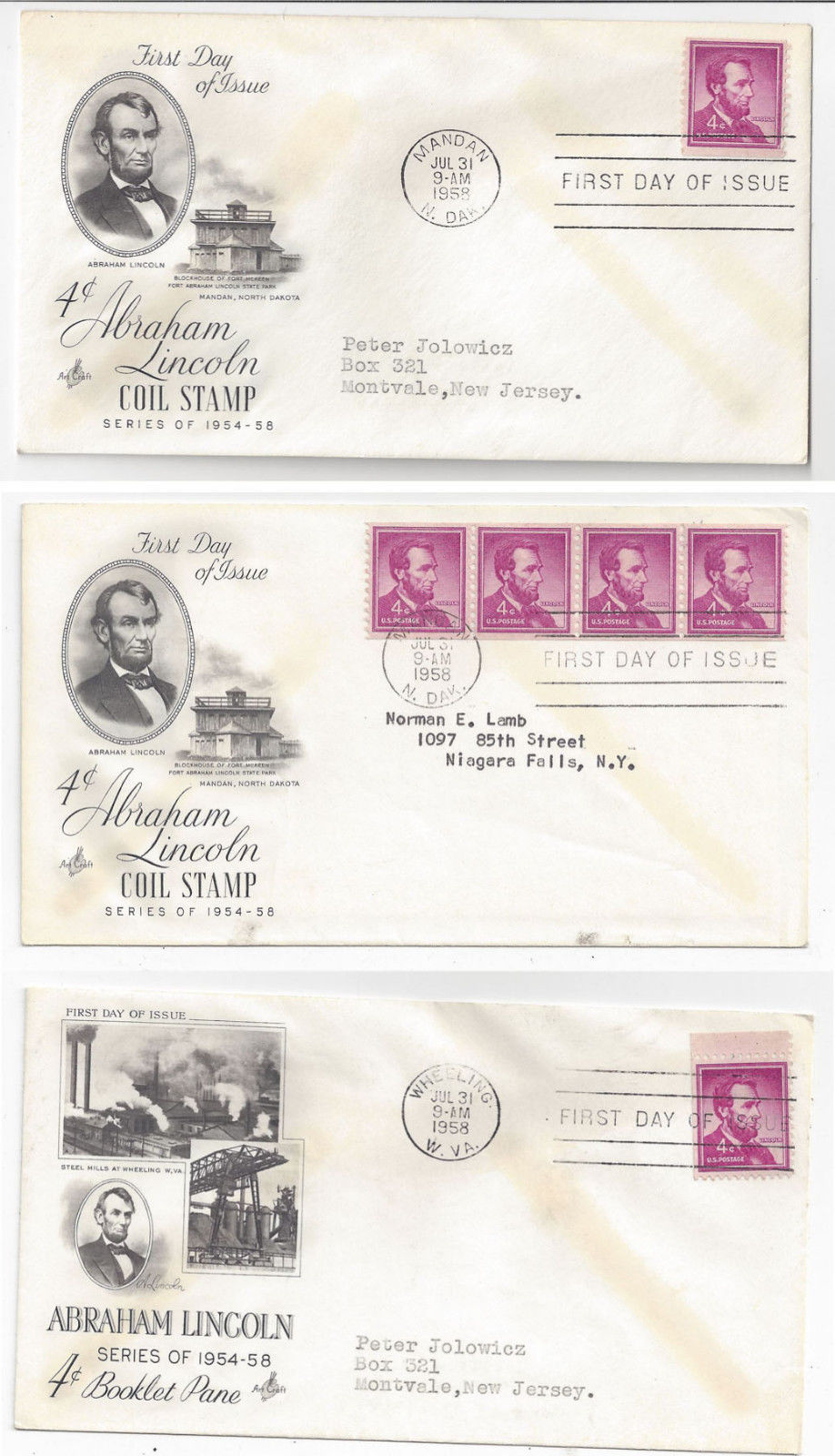 Primary image for 1056 1058 Lincoln FDC s 3 Covers 1958 Coil Single Coil Strip Booklet Single