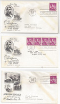1056 1058 Lincoln FDC s 3 Covers 1958 Coil Single Coil Strip Booklet Single - $4.74