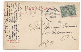 Sc# 328 Jamestown tied by lebanon PA Flag & Reading duplex on1907 Postcard - $5.69