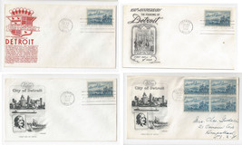 1000 Detroit Landing of Cadillac Artmaster Fleetwood Anderson 4 FDC Covers - $5.69