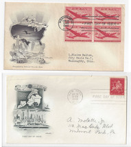 C32 C38  Air Mail FDC s 2 Different Cacheted First Day Covers 1 Blk of 4 - $5.69