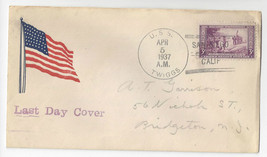 USS Twiggs DD-127 Last Day Naval Cover 1937 San Diego CA Decommissioned - $7.49