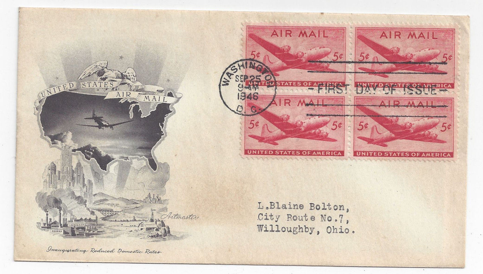 C32 C38  Air Mail FDC s 2 Different Cacheted First Day Covers 1 Blk of 4