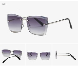 Women Square Rimless Diamond Cut Lens Sunglasses Brand Designer Fashion ... - $16.98