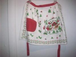 Vintage Christmas Terry Cloth Cotton Half Apron... - $12.95