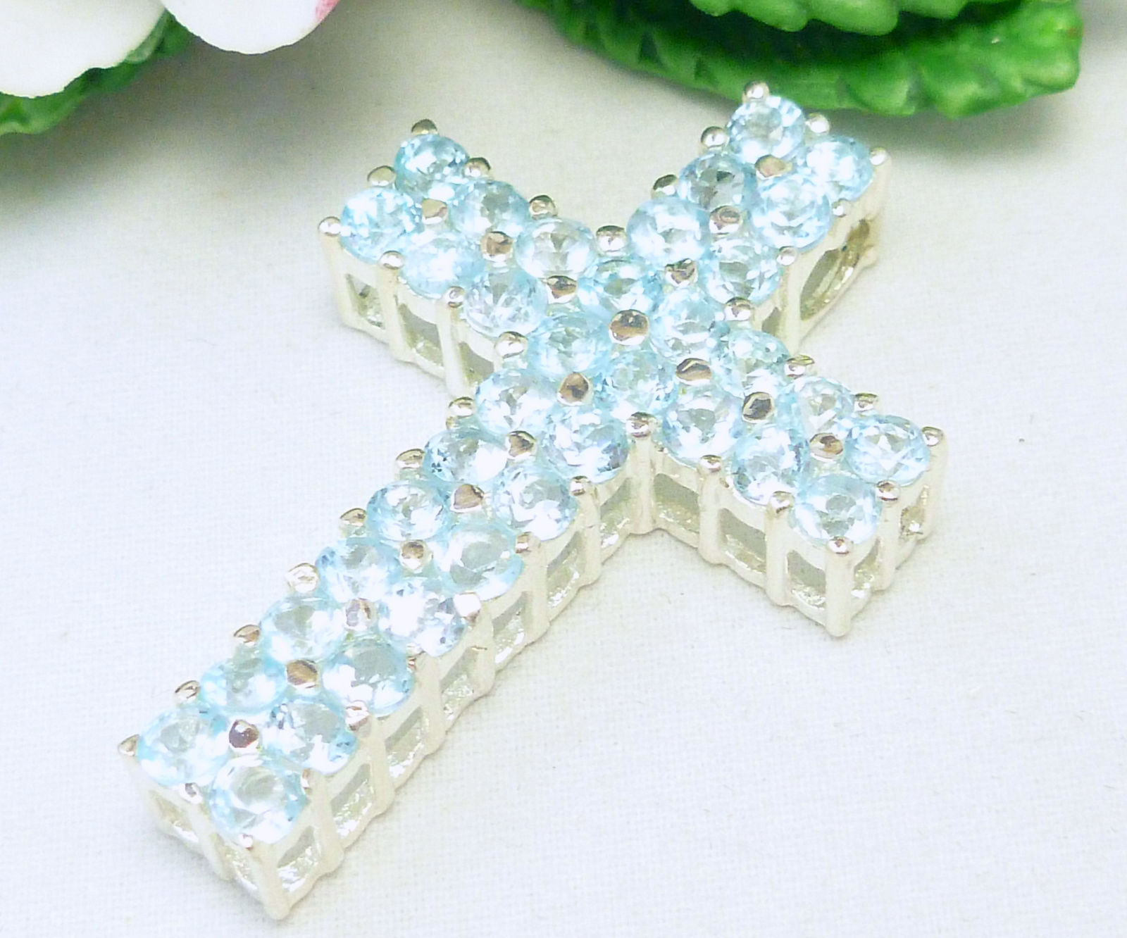 Primary image for Light Blue Topaz Round Gemstone Sterling Cross Pendant