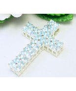 Light Blue Topaz Round Gemstone Sterling Cross Pendant - $56.00