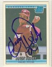 andy ashby signed autographed card 1992 donruss - $9.50