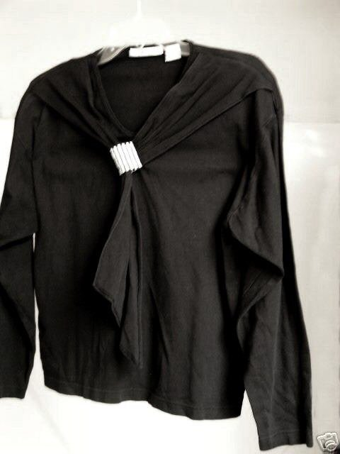 Primary image for  Black  100% Cotton Robin Sinkler Jersey Top Lg