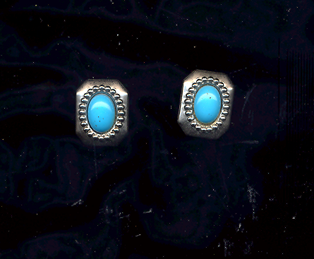 Primary image for Silver and Turquoise pierced vintage Earrings