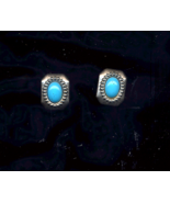 Silver and Turquoise pierced vintage Earrings  - $10.00