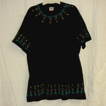 Black All Cotton Hand Painted Tribal Mask Thick T-Shirt -Sz. Xl - $10.00