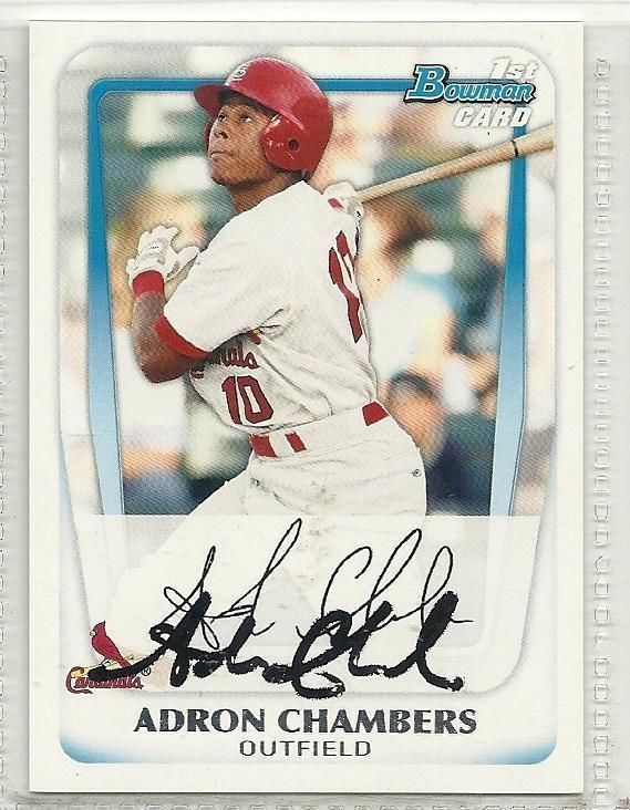 Primary image for Adron Chambers signed autographed card 2011 Bowman Prospects