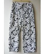 White Floral On Black Capri Jeans Sz. M - $10.00