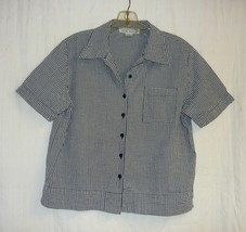 Black And White Checked All Cotton Bowling Shirt Sz. M - $10.00