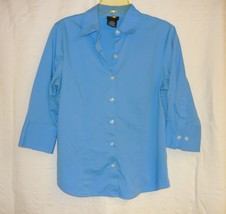 Sky Blue Stretch 3/4 Sleeve Blouse By George Sz.s - $5.00