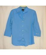 Sky Blue Stretch 3/4 Sleeve Blouse By George Sz.s - $5.00
