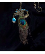 Peacock Feather Brass Necklace - $5.00