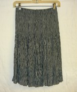 80's Cool Black White Stripe Rayon Crinkle Crepe Skirt Sz. Sm - $10.00