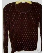 Brown embroidered  Stretchy Sheer Top M - $10.00