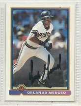Orlando Merced signed autographed card 1991 Bowman - $9.50