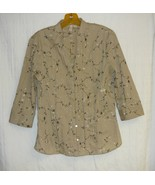 St. John's Bay Embroidered Tan Blouse M - $10.00