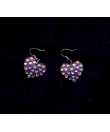 Pearlized Purple Hearts With Crystals - $5.00