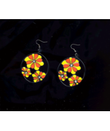 Flower Enameled Retro Earring With Crystal Centers - $5.00