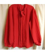 Red Vintage Blouse with Tie Front - 22w / 42 - $10.00