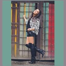 Fabulous Zebra Stripe Fashion Faux Fur Long Sleeve Jacket Shirt Coat  image 4