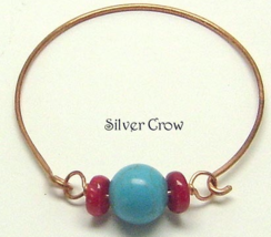Coral Turquoise Magnesite Copper Bangle Bracelet - $13.99