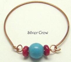 Coral Turquoise Magnesite Copper Bangle Bracelet - $13.99