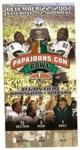 2007 Papa Johns Bowl Game Full Ticket Southern Miss Cincinnati - $79.48